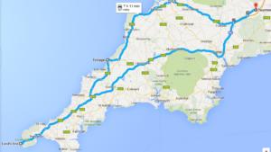 Naše cornwallská cesta, konkrétně z Tautonu přes Tintagel až k Land's End a pak zase zpět.